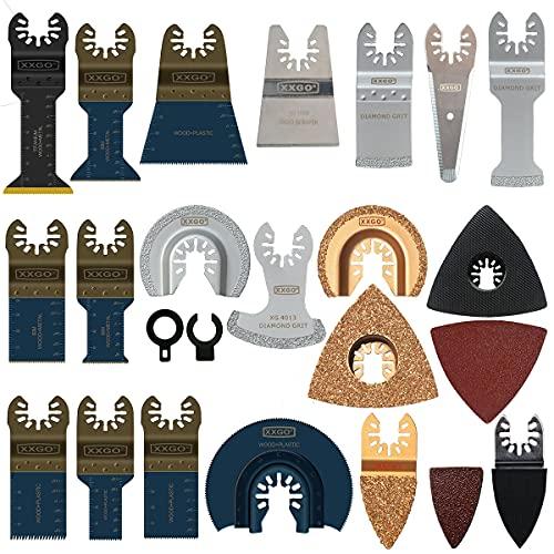 XXGO 120 Pcs Oscillating Multitool Blades Accessories Kits Compatible with Bosch, Chicago, Craftsman, Dewalt, Dremel, Fein, Harbor Freight, Makita, Milwaukee, Porter Cable, Ridgid, Ryobi, Rockwell and More XG1201