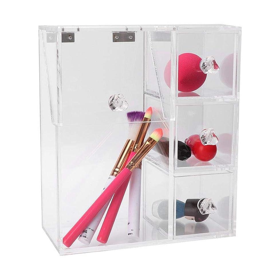 プレゼンテーション一回シソーラス化粧道具収納ボックス、透明アクリル綿棒パウダーパフブラシ化粧道具収納ボックスホルダーオーガナイザー