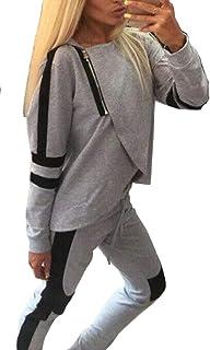 Macondoo Womens Sweatpants Cropped Classical Sports Sweatshirt Hooded Tracksuit Set