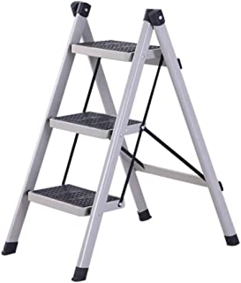 BENCONO Foldable 3 Step Ladder Portable Ladder Home Stool Ladder Anti-Skid Pedal Safety Steel Step (Color : Grey)