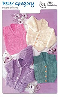 Peter Gregory Double Knitting DK Pattern for Baby Hooded Cardigans Slipover & Waistcoat (7193) by Peter Gregory