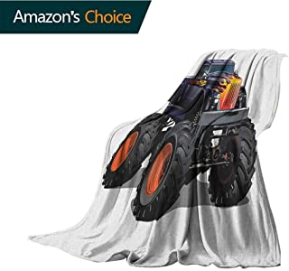 Truck Weighted Blanket Adult,Flame Patterned Hood Cool Monster Truck with Giant Wheels Childrens Cartoon Pickup Microfiber All Season Blanket for Bed or Couch Multicolor,70