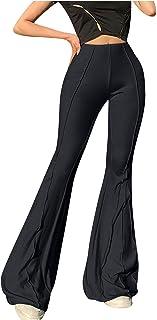 Damen Hose Jogginghose Stretch Freizeit Hosen Sporthose Fitnesshosen Fashion High Waist Schlaghose Slim Abnehmen
