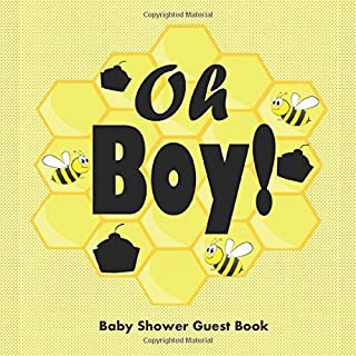 Oh Boy ! Baby Shower Guest Book:: Bumble Bee and Honeycomb Design, Keepsake Guestbook With Name, Address, Baby Predictions, Advice For Parents, Gift Log Tracker & Framed Photo pages