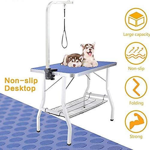 Jlxl bijzettafel voor huisdieren, inklapbaar, draagbaar, duurzaam, droog met anti-slip tafel, verstelbare armleuningen voor honden of katten en roostertablets, blauw, 90cm