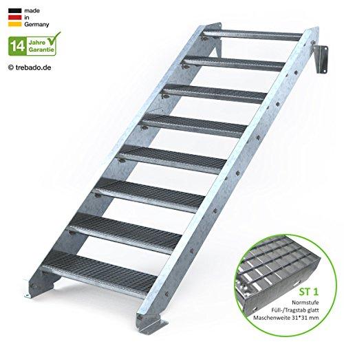 Außentreppe 8 Stufen 80 cm Laufbreite - ohne Geländer - Anstellhöhe variabel von 150 cm bis 180 cm- Gitterroststufe ST1 - feuerverzinkte Stahltreppe mit 800 mm Stufenlänge als montagefertiger Bausatz