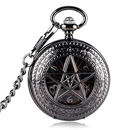 HBIN Reloj de Bolsillo Esqueleto mecánico Steampunk con Cadena como Regalo del día de Padres de Navidad