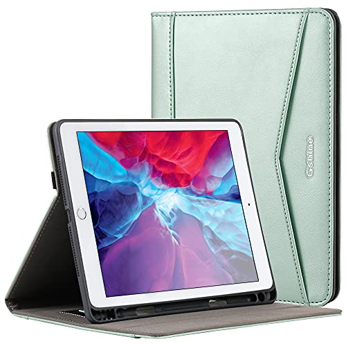 Gshine iPad 10.2 Case ,2020/2019 iPad 8/7th Generation Case Full-Body Protective Shockproof Case with Built-in Hand Strap Holder & Pencil Holder,Auto Sleep/Wake-Green