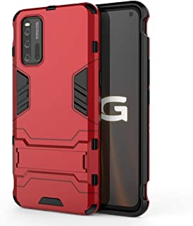 nh ケース 対応VIVO iQOO 3 ケーススリムで薄い水平キックスタンド [スクリーンプロテクターき2個付] ドロッププロテクションファッション電話ケースバンパーカバーVIVO iQOO 3用(赤)