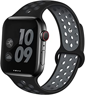 EXCHAR Sport Band Compatible with Apple Watch Band 44mm Series 5/4 Breathable Soft Silicone Replacement Wristband Women and Men for iWatch 42mm Series 3/2/1 Nike+ All Various Styles M/L Black-Grey