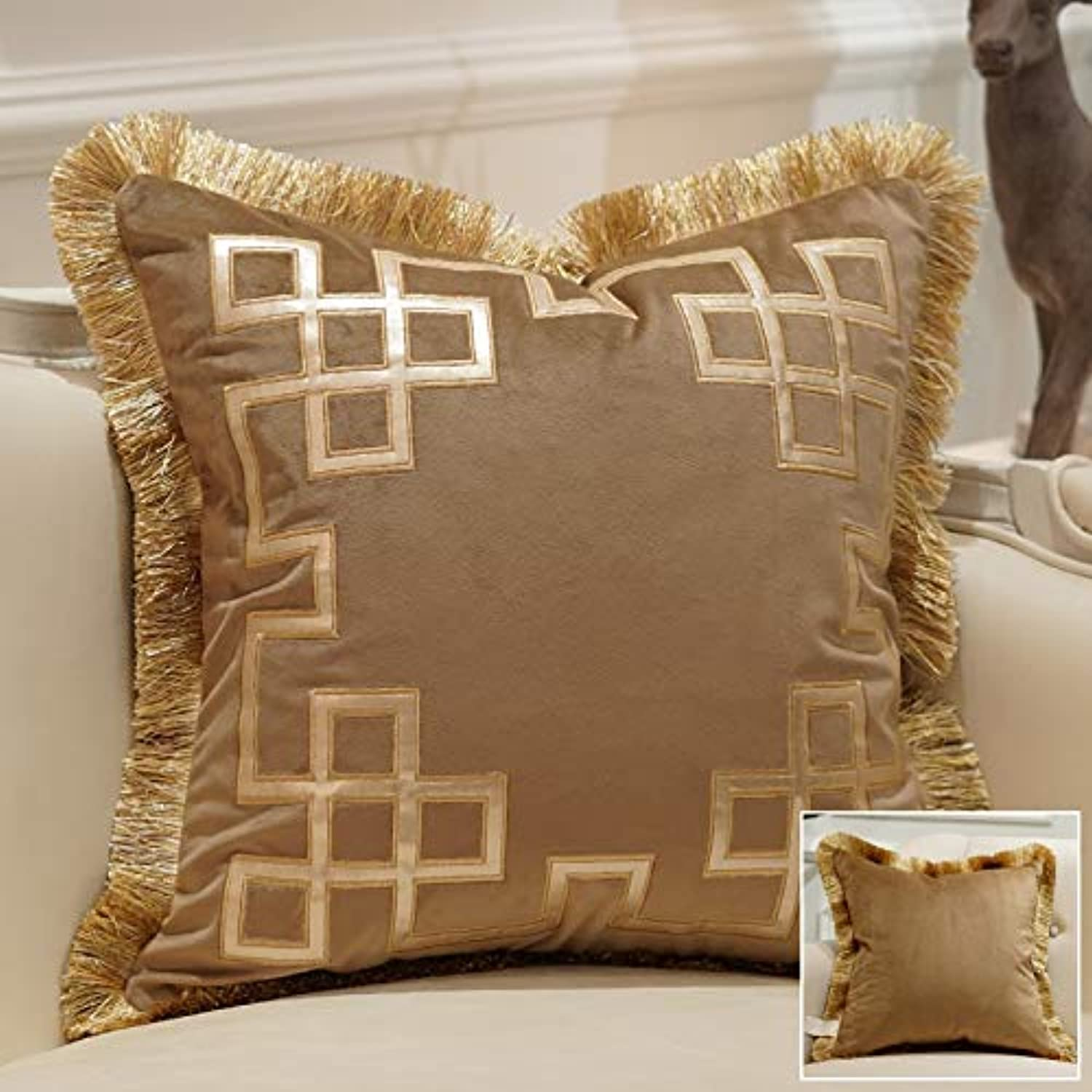 2 pcs of Avigers Embroidery Velvet Tassel Cushion Cover Luxury Pillow Cover Pillow Case Geometry Home Decorative Sofa Chair Throw Pillow