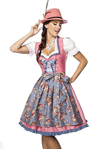 Luxus Designer Dirndl mit Schürze Kleid Dirndkleid Oktoberfest Tracht Trachtenkleid Spitze Denim Blumenprint Paspelierung Rüschen-  XS, Rosa/Blau