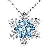 findout signore di cristallo blu cubico collana pendente Zirconi fiocco di neve flash .per donne ragazze dei bambini. (f1741)