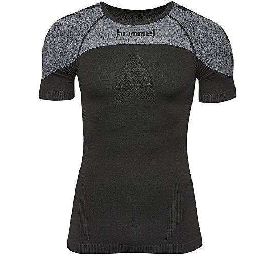 hummel Fonction à Manches Courtes en Jersey – First Comfort SS – T-Shirt d'entraînement Homme Une Grande Liberté de Mouvement – Maillot de Sport Respirant en Noir/Gris – Fitness pour Femme XS/S Noir