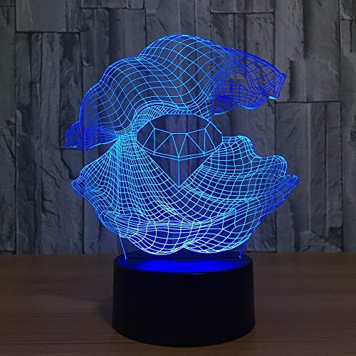 Creative Shell Diamond 3D Night Light LED 7 Cambio de Color lámpara de Mesa Dormitorio Noche iluminación del sueño decoración de Regalo 1 Interruptor táctil