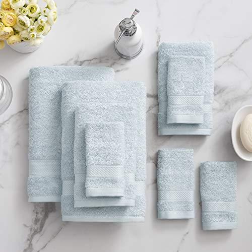 Welhome 100% Cotton Towel (Sky Blue)- Set of 8 - Quick Dry...