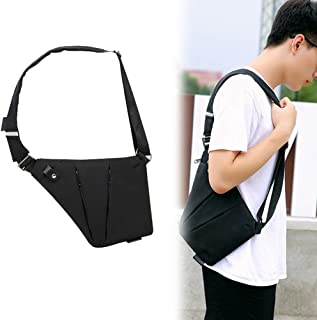 RANRANHOME Axelväska för män bröstväska, bröstväska, stöldsäker slingväska, stor bärbar datorväska dagväska, lämplig för u...