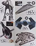 """Star Wars Mini FATHEAD Set of 12 Vinyl Wall Graphics Re-Usable and Removable Decals: Millenium Falcon, Star Destroyer, TIE Advanced X1 Starfighter, Slave 1, at-at (Main Graphics 7"""" INCH Each)"""