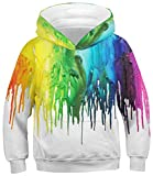 Boys Pullover Hoodie Cool Paint Drip Graphic Hoody Girl Casual Rainbow Graffiti Round Neck Sweatshirts Children Lightweight Sports Hooded Teens School Stylish Long Sleeve Clothes Fall, Paint Size 8-12