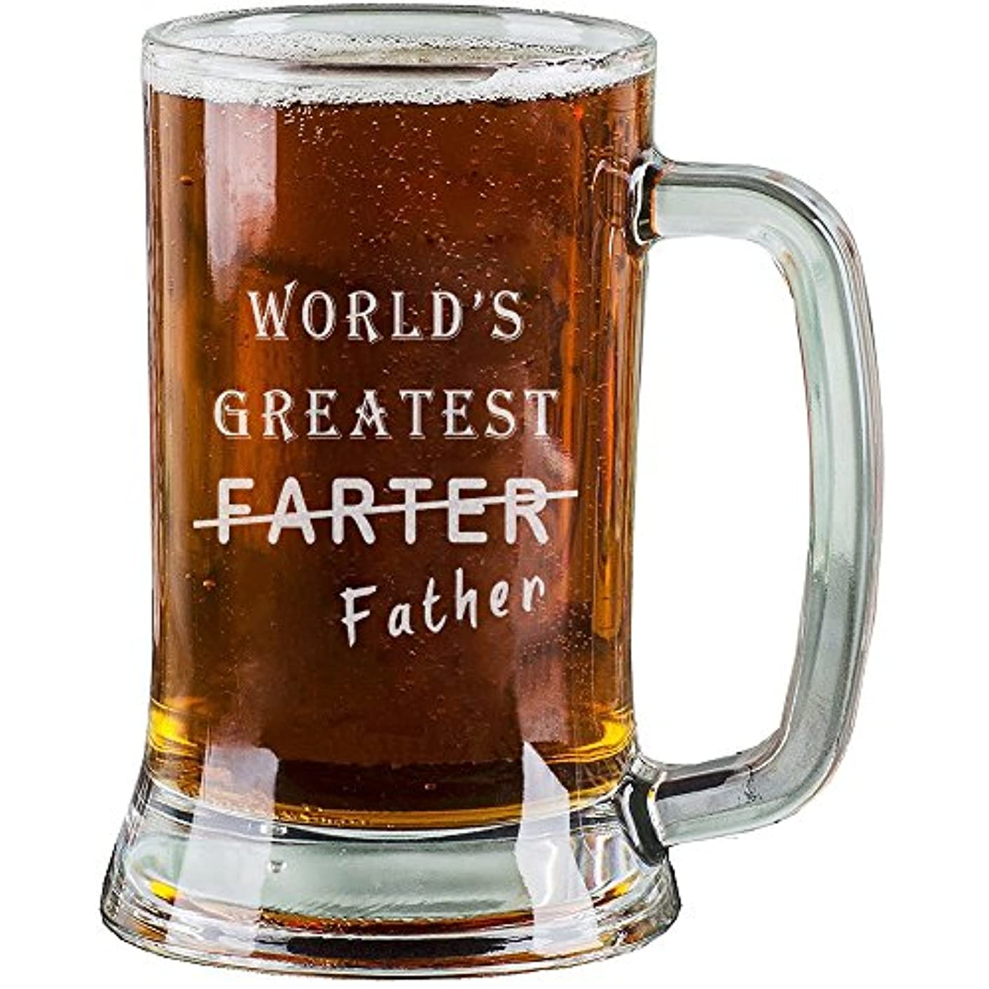 AnnaStoree 16 Oz Personalized Beer Mugs Etched Engraved with WORLD'S GREATEST FARTER Father Funny Beer Mugs for Dad Gift