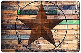 Uphome Rustic Barn Star Bathroom Rug, Non Slip Coral Velvet Foam Bath Mat with Design Retro Western Texas Star on Brown Wooden Grain Shower Mat Kitchen Rug, 20x32