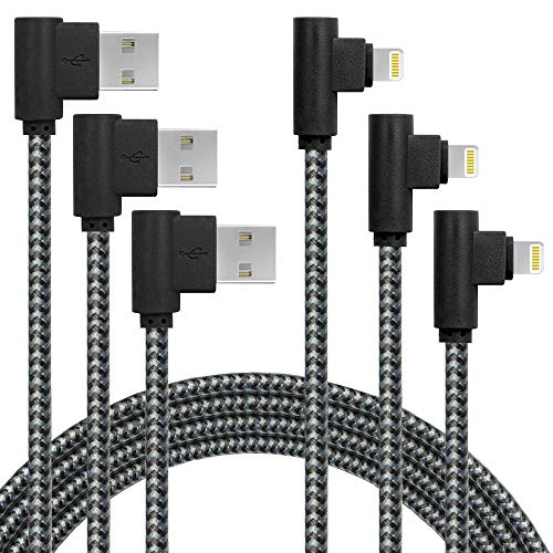 3 Pack 6FT Extra Long Fast Charger Cable 90 Degree Nylon Braided iPhone USB Charging & Syncing Cord Compatible with iPhone 12/11/ Xs Max/XS/XR/X, 8 7 6 6S 6 Plus, iPad, iPod (6ft, Black Gray)