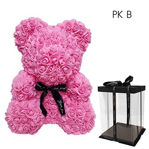 Heylas Rose Bär Spielzeug, Roter Rosen Bärn Blumen Teddy Bär Geformt Künstliche Blumen Puppen für Valentinstag Hochzeit Geburtstag Geburtstagsgeschenke