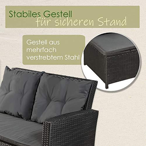 ArtLife Polyrattan Sitzgruppe Lounge Santa Catalina schwarz | dunkelgraue Bezüge | Gartenmöbel-Set mit Ecksofa, Hocker & Tisch - 7
