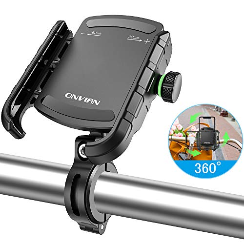 Onvian 自転車 スマホホルダー すまほ バイク オートバイク 携帯電話ホルダー 360°水平回転 マットな質感 シリコンパッド防振 落下防止 回転軸伸縮範囲60-90mm(3.5-6.5インチ全機種対応)