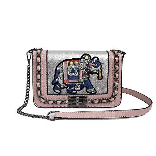 ZXW 2019 Marea Salvaje Bebé Elefante Bordado Mujer Bolso Ins Moda Hombro Diagonal Pequeño Bolso Cuadrado Talla única/Rosa