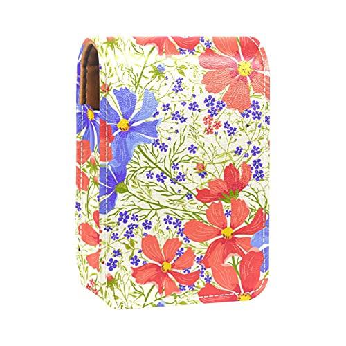 Estuche de lápiz Labial Estuche cosmético para Exterior Mini Bolso Soporte de Viaje portátil con Espejo Bolsa de Maquillaje Labial Daisy Red April Fool Decorate
