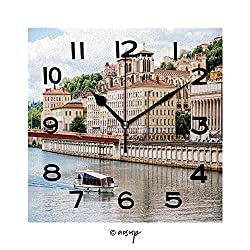 YOLIYANA Square Wall Clock View On Rhone River and The Old Town in Lyon City in France 8 inch Morden Wall Clocks Silent Square Decorative Clock
