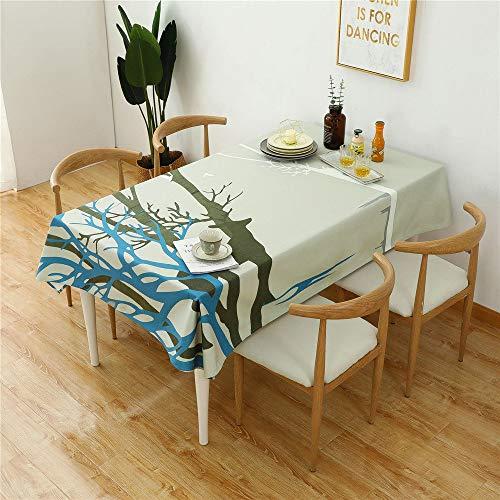 DHHY Einfache Dicke Tischdecke aus Baumwolle und Leinen Hirsche Bedrucken Wasser- und ölbeständige Teetischdecken I 100x140cm / 39x55inch