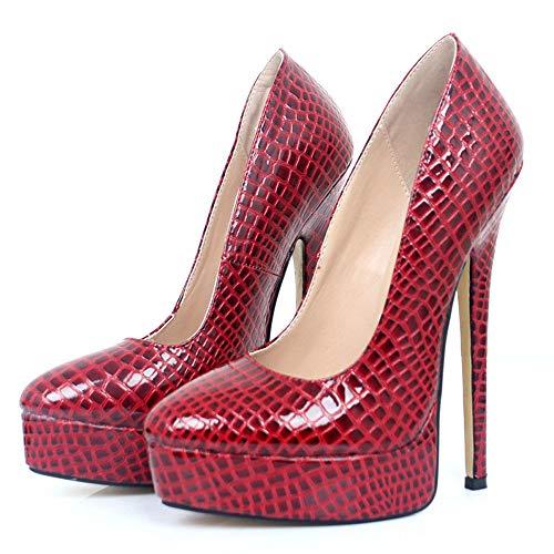TIKENBST High Heels Fetisch Absätze Sexy High Heels 18CM Damen Schuhe Spitze Zehen Plattform High Heels Plus Size Hochzeitsfeier Schuhe,Red Snake Pattern-44