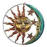 PINYUE Decoración de Arte de Pared de Metal, Estatua Creativa de Sol y Luna, Adornos Colgantes, decoración para el hogar, Sala de Estar, jardín
