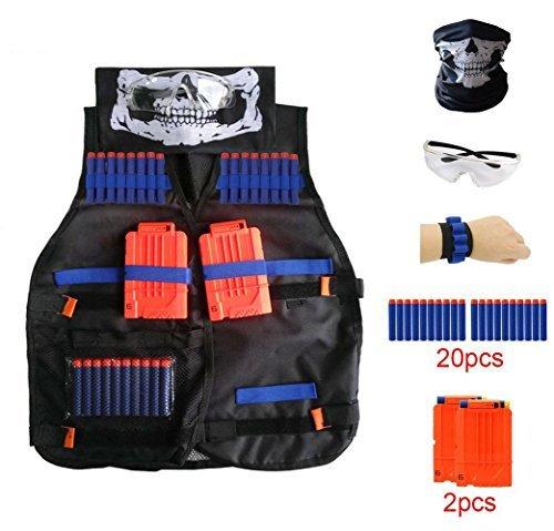 Locisne Chaleco táctico para niños Traje de chaqueta para serie de élite Nerf Toy Gun N-Strike(20 piezas de espuma Dardos+Gafas protectoras+Máscara de calavera+2pcs 6-dart Recargar Clip+1pcs 8 dart)
