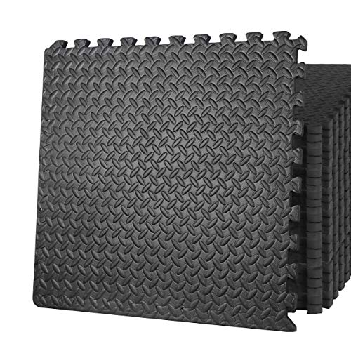 ZENY Gym Flooring Mat Interlocking Foam Mat 24 Floor Tiles 3/4'' Extra Thick Floor Mats for Exercise Equipment Baby Play Mat 96 SQ. FT, Black