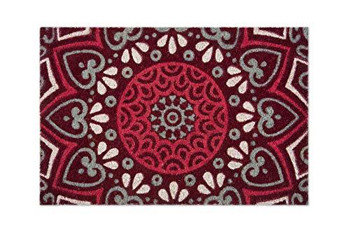 Excelsa Mandala Rojo Felpudo Entrada, Fibra de Coco, 40 x 60 cm