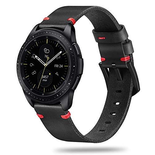 Fintie, armband voor Galaxy Watch, 42 mm, Gear Sport/Gear S2 Classic, Garmin vívoactive 3, muziek, horlogeband van premium echt leer, reserveband met roestvrijstalen gesp,