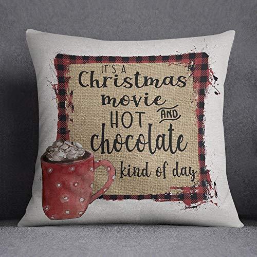 Ad4ssdu4 Kerstkussensloop Kerstfilm en warme chocolade soort dag Kerstmis decor machine wasbaar 18x18inch kussensloop
