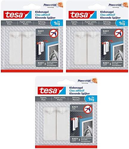 tesa 77773-00000-00 Klebenagel für Tapeten und Putz/Selbstklebende Nägel für empfindliche Oberflächen/Leicht anzubringen und zu entfernen-rückstandslos / 2 x 1kg Halteleistung, 1 Kg, 2 Stück (3)
