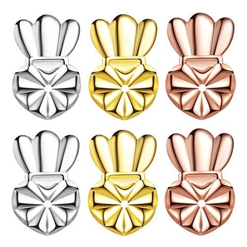 Secure Ear Lifters for Earrings As Seen On TV, Hypoallergenic Post Earring Backs for Heavy Earring Metal Earring Backings 3 Pairs