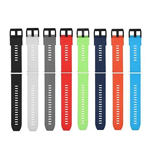 Romacci Bracelete de relógio de 22 mm Bracelete de silicone macio de liberação rápida com fivela pulseira de relógio respirável compatível com relógio inteligente / tradicional de 22 mm (pacote de 8 cores)
