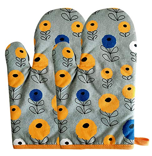 AUBIG 2er Set Ofenhandschuhe Baumwolle Backen Backofen Handschuhe spezielle Wärmedämmung und hitzebeständige Handschuhe 1 Paar Grau