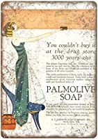 2個 Palmoliveバスソープ広告メタルビールサインバーパブマンカーブ8X12インチ
