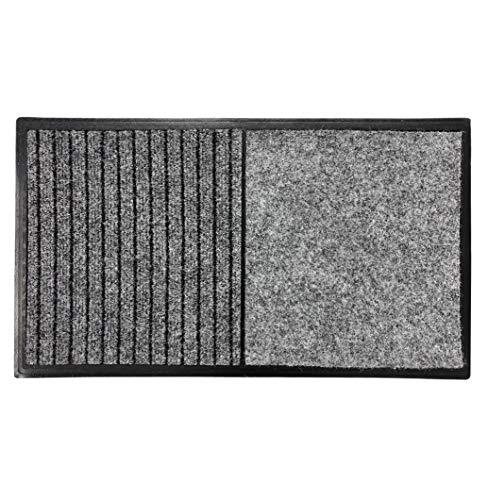 TIENDA EURASIA Felpudo Desinfectante Entrada - Alfombra Desinfectante Calzado - 40 x 70 cm - 2 Moquetas - 1 Moqueta de Desinfección + 1 Moqueta de Secado (Gris Claro)