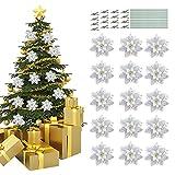 16 piezas Navidad Brillo Flor de Pascua Flor Navidad Flor decoración,Boda Artificial Año Nuevo Navidad Flor,Decoración de árbol de Navidad de Flor de Pascua de Brillo Artificial(plata)