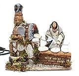 Joy Christmas Pastore per Presepe in Movimento 20 cm x 14 cm La Fornaia Grande 15 cm con Lampada Fuoco per Presepe - 49561