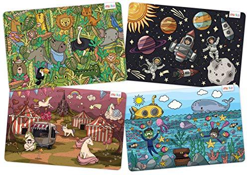 Merka - Manteles individuales educativos para niños, diseño de unicornios de la selva