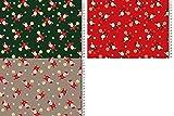 Fabrics-City 2M GRAU Weihnachten Bedruckt WEIHNACHTSMANN